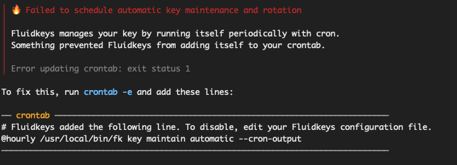 A screenshot of a terminal with an error message and instructions